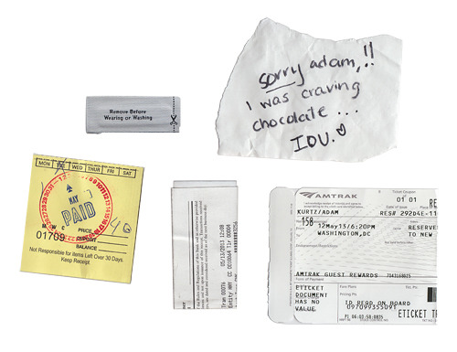 week in scraps: shoe repair pants tag bank receipt roommate note WAS -> NYP