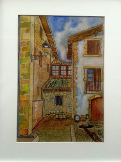 Obanos, Navarre. Spain. Watercolour on kraft paper. Din A4.