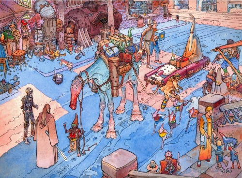 Star Wars Visions. Artwork by Moebius.  I'm not sure if this work is officially titled.  Regardless, it rules.