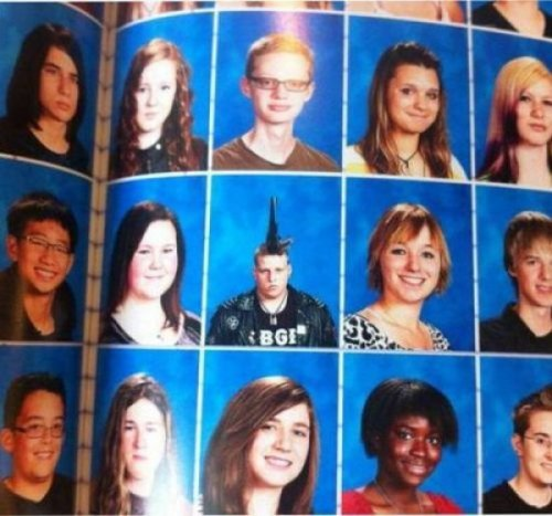 Guy Too Punk for Yearbook Photo Look, get the whole mohawk in frame and maybe I'll think about staying.