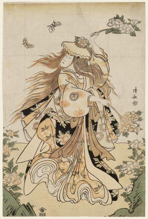 (Torii) Kiyonaga, Actor Segawa Kikunojô III Performing the Lion Dance in the Play Shakkyô 1789,woodblock print; ink and color on paper, 37.2 x 24.9 cm,Museum of Fine Arts Boston #Torii Kiyonaga#Kiyonaga#Segawa Kikunojô#ukiyo-e#actor#Japanese art#kabuki#lion dance#dance#dancer#art#woodblock print