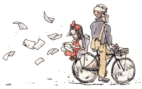 This week's drawing for the NYT Metro Diary. ALWAYS WEAR A HELMET!!!!!