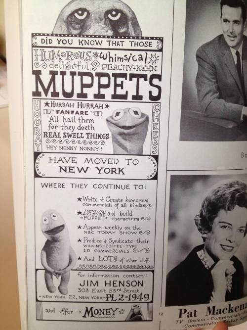 jeffscherer:  An ad for the Muppets from 1963