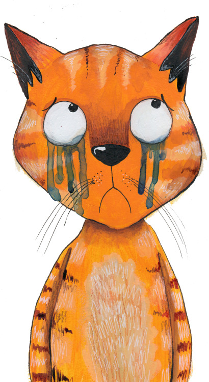 sarahscribblesillustration:  Sad cat :'(