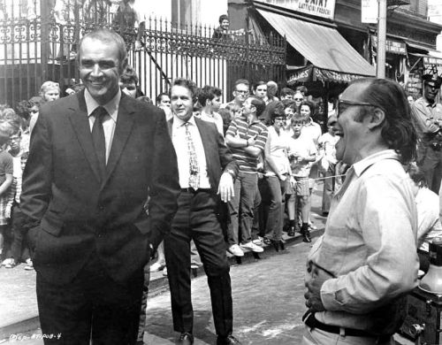 Director Sidney Lumet laughs his heads off at something Sean Connery said between shots of The Anderson Tapes