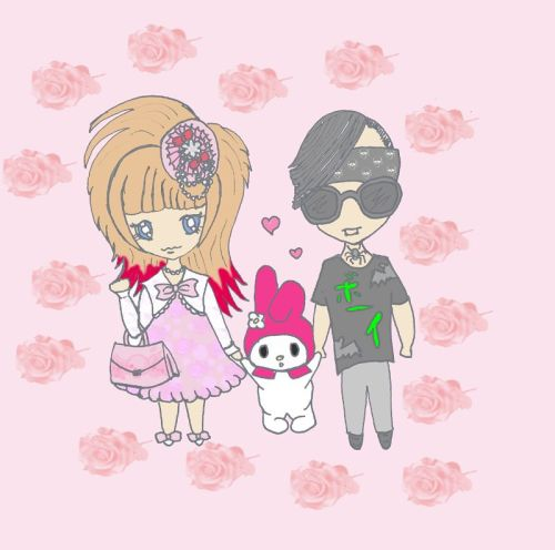 Kawaiii!!! Isn´t that cute? My hubby and me. Thanks to my Blogreader     カメレオン真. I love it so much <3<3<3<3