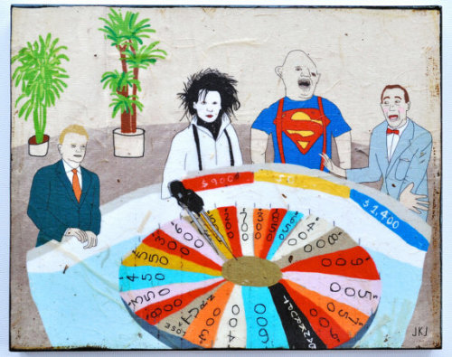 kellyreeves:  (via Wheel of Fortune mixed media print on wood by retrowhale on Etsy)