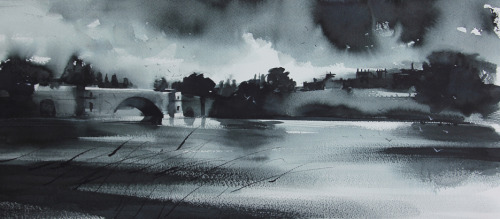 A storm approaches Blenheim, Indian ink. A new painting for the Woodstock exhibition in April.