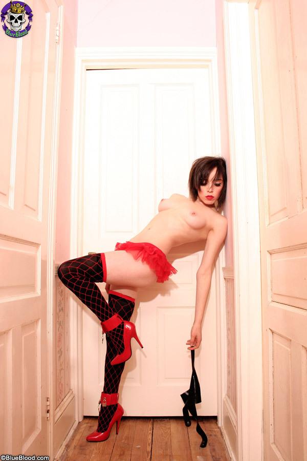 Kess in fishnets and bondage heels from BarelyEvil.com