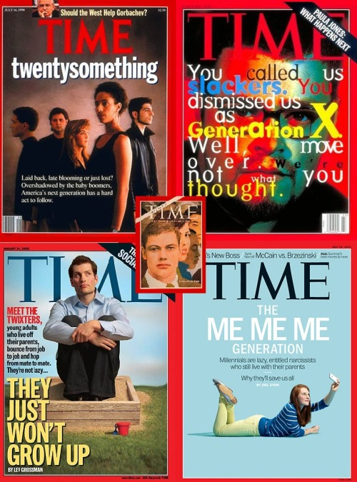 danspeerin:  I made this collage of Time Magazine reminding us how they try and sell magazines - ironically all of these were aimed at baby boomers.