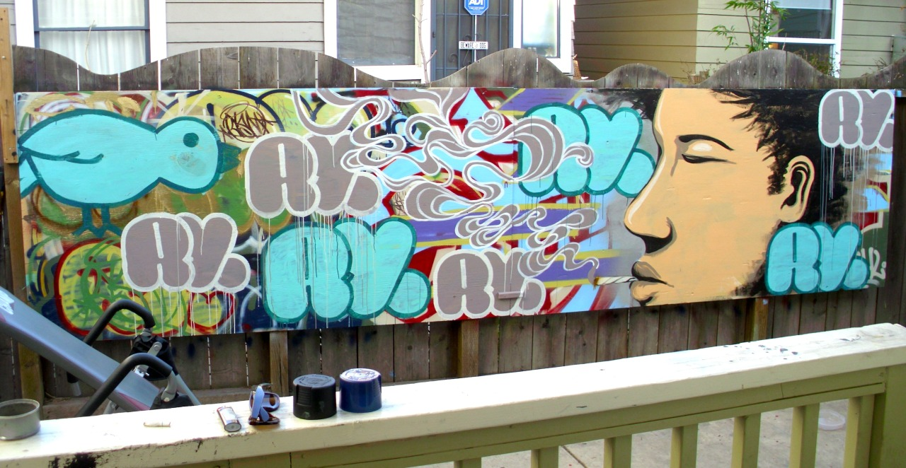 Backyard Mural Collab with RYSM and W.W.