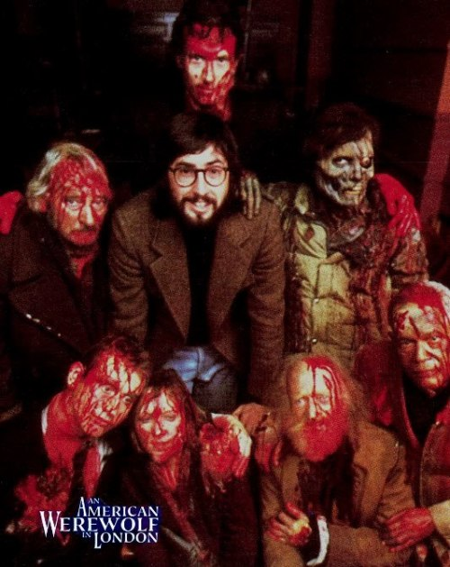 John Landis hanging out with the dead on the set of An American Werewolf In London (1981)