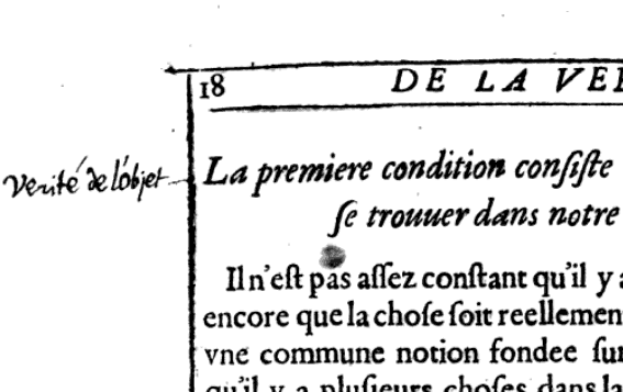 "Marginalia: ""Verité de l'objet.""  From De la Vérité Entant Qu'elle est Distincte de la Reuelation by Edward Herbert (1639). Original from University of Lausanne. Digitized September 8, 2008."
