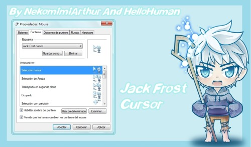 jackhic-love:  Jack Frost Cursor (by Nekomimiarthur and Hellohuman) CLICK HERE TO DOWNLOAD!!! Here's how: In the paper that says: Install: right click, click Install.Then right click on the desktop, click Personalize.In personalized look to the side and open an option that says change mouse pointers click there.Then click scheme is looking for and what you select.