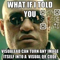 Does Morpheus scan?  Check it out!  A Matrix Visual QR Code meme designed for engagement. We actually want you NOT to see the code. Created on www.visualead.com via [Jaron Hinds]