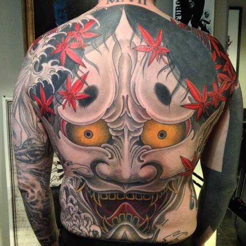 Hannya in progress…( cover up- tribal) #ink #tattoo #hannya #backpiece #japanesetattoo  (à MysteryTattooClub)