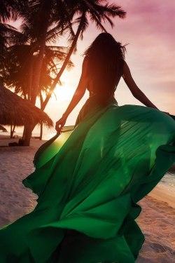 beauty girl mine fashion dress beautiful gorgeous style stunning luxury brunette ocean luxurious woman sunset green dress MissBB