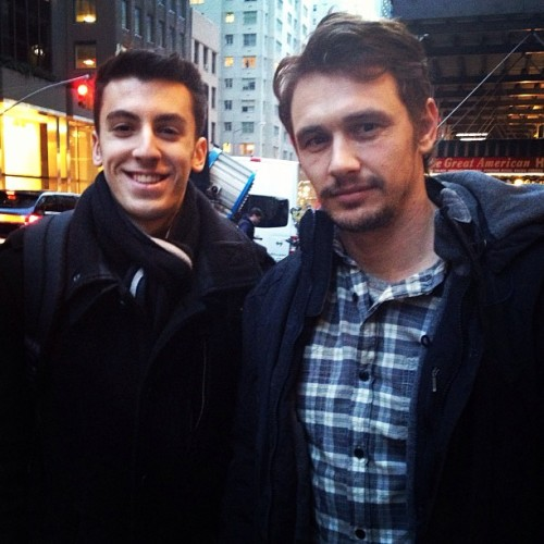 "James Franco poses with a fan today while filming ""True Story"" in New York City."