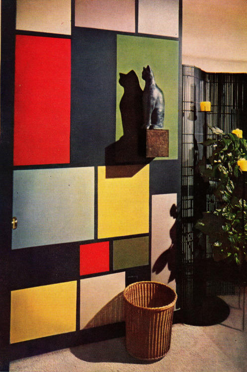 theniftyfifties:  A Mondrian-esque wall from the 1955 Better Homes & Gardens Decorator Book.  When I own my own house and can do things like paint walls, I want to paint the toilet a whole range of crazy/stupid things, and I think Mondrian style might be first on the list.