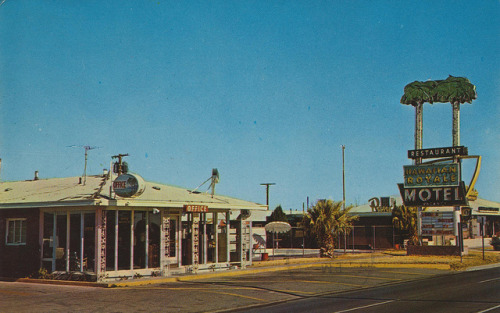Hawaiian Royale Motel - El Paso, Texas 8735 Highway 54 El Paso, Texas El Paso's finest motel. 60 beautiful Units. One and two room suites, three room apartments with kitchens. Dining room and coffee shop. Filtered pool. Refrigerated air conditioning, central heat, room phones, television, tiled baths, tubs and showers, wall to wall carpeting. Phone 755-2341 Mailed from El Paso, Texas to Chisolm Ryder, Sam & Joe & The Gang in Niagara Falls, New York on August 24, 1968 Hi boys - Having a nice time here in Old Mexico. the weather is fine and the scenery is beautiful. This is the home of the Sun Bowl & its beautiful.  See you all - Aug