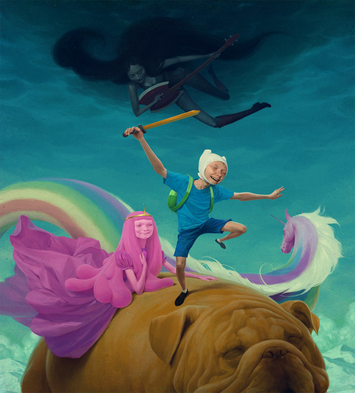 urhajos:  'Adventure Time' by Jeremy Enecio  The kid in blue reminds me of Shiro (tekkon kinkreet) <3