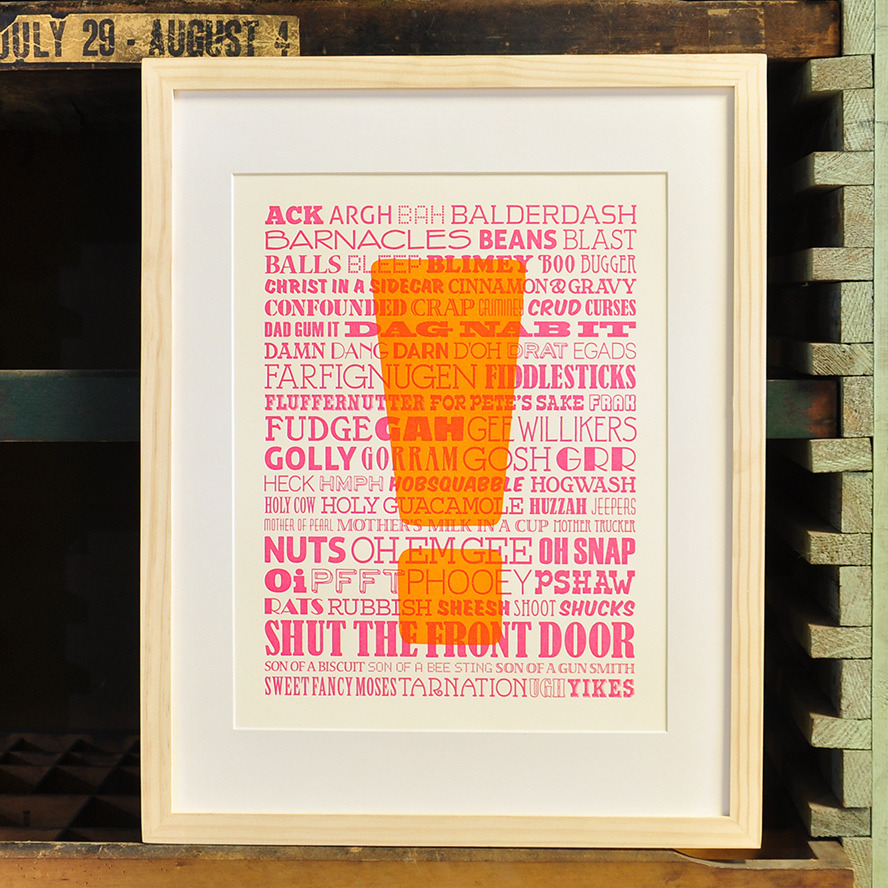 betype:  Un-Profanities Letterpress Poster (by twotonepress)  Get inspired on Betype.co   To exclaim.