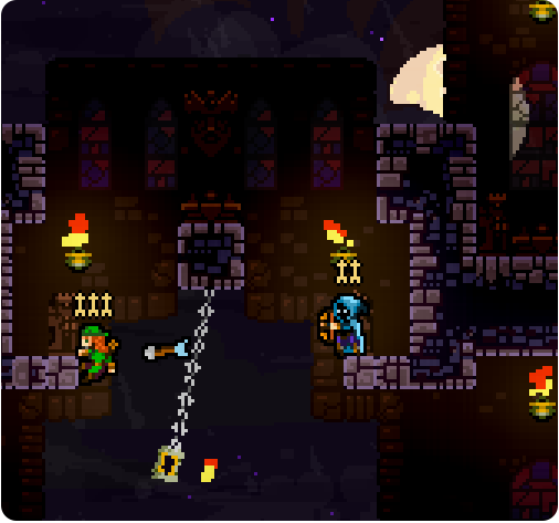 We (Pedro and Amora) are working on the graphics for Matt Thorson's Towerfall! TowerFall is an upcoming 4 player local multiplayer game and it's ridiculously fun! You can read more about it here.