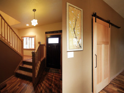 Chezem Residence Eugene, OR. 2012. This new residence for a family of five is located in the hills southwest of Eugene. The house utilizes the limitations of a restrictive building envelope to gather southern light and frame views to the surrounding trees and hills. You can see a schematic animation of the project here. General Contractor: Bright Oak Homes Structural Engineer: Woodchuck Engineering
