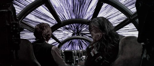 What would Han Solo really see from the Millennium Falcon? Physics students calculate what travelling close to the speed of light would really look like and sadly, hyperspace looks nothing like what Star Wars depicts it as.  In the Star Wars films, every star in the sky is seen to stretch before the characters' eyes as the hyperdrive is engaged.  A group of final year masters students at the University of Leicester have shown that the crew would actually see a central disc of bright light. There would be no sign of stars because of the Doppler effect - the same effect which causes the siren of an ambulance to become higher in pitch as it comes towards you.   Doppler blue shift is a phenomenon caused by a source of electromagnetic radiation – including visible light - moving towards an observer. The effect means that the wavelength of electromagnetic radiation will be shortened. From the Millennium Falcon crew's point of view, the wavelength of the light from stars will decrease and 'shift' out of the visible spectrum into the X-ray range. They would simply see a central disc of bright light as Cosmic Microwave Background Radiation is shifted into the visible spectrum.
