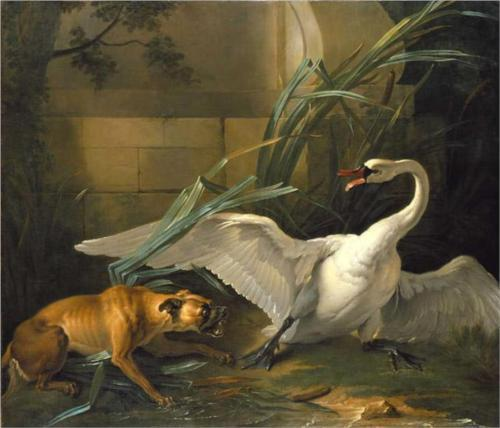 thesavagesgallery:  Jean-Baptiste Oudry (1686-1755) Swan Attacked by a Dog, 1745.