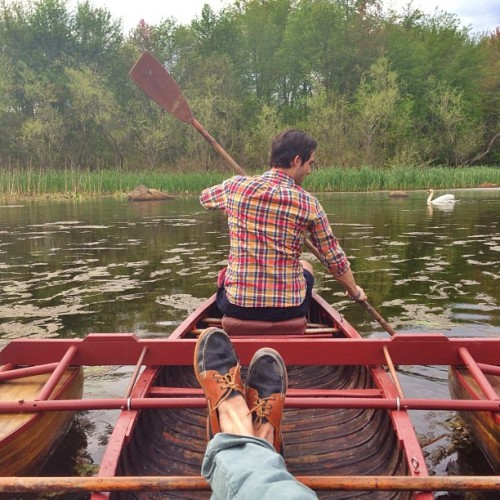 "kieljamespatrick:  Taking Carleton (""Indian Summer"") back to the lake with chauffeur @NealGibeau for the first time in 75 years (at Indian Lake)"