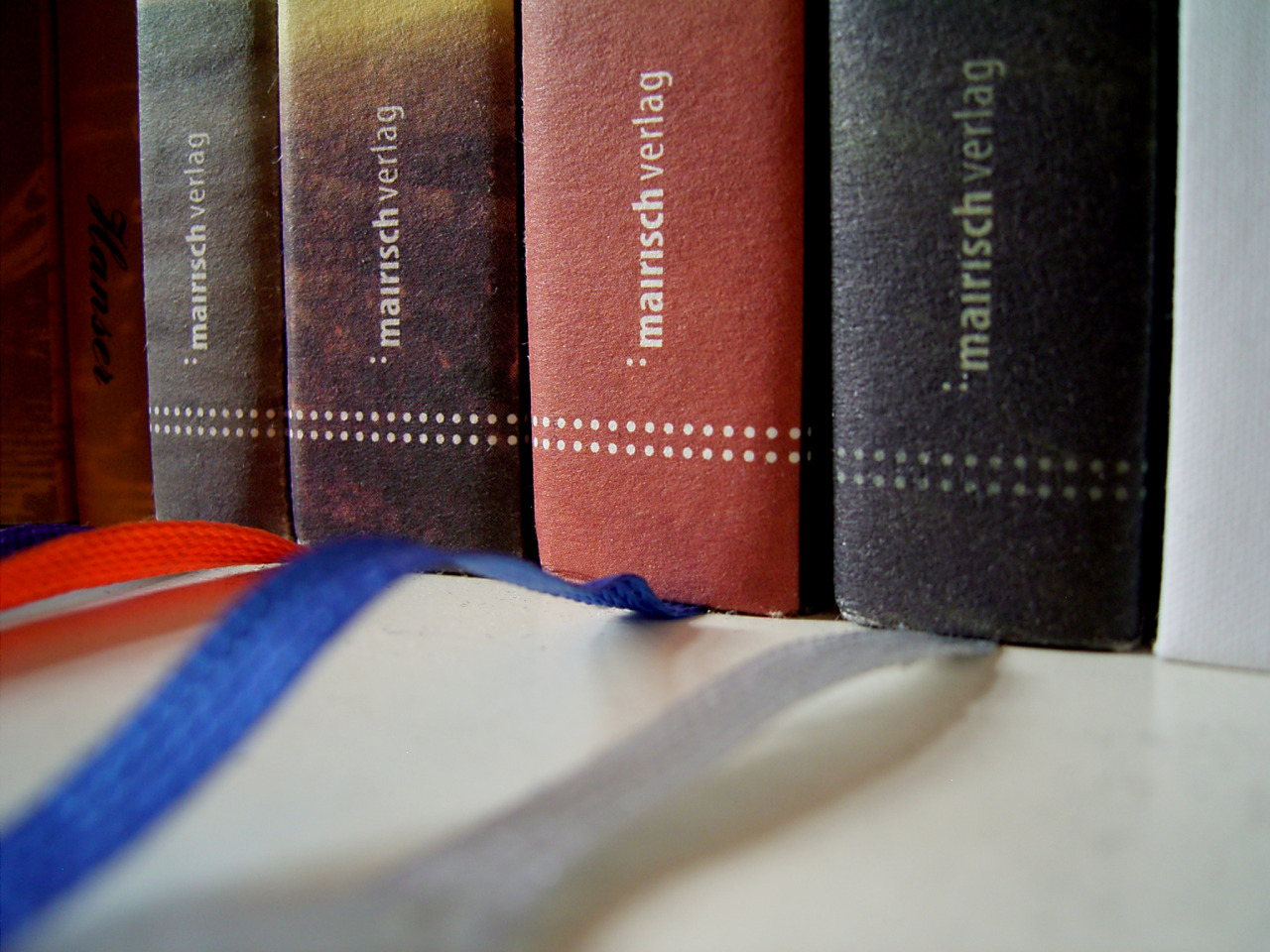 Mairisch Verlag bookspines and colourful bookmarks (mairisch is an independent publishing house based in Hamburg, Germany)