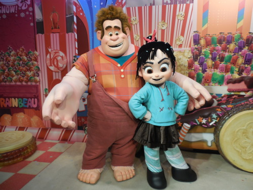 thedisneylifestyle:  Wreck it Ralph Meet and Greet at Hollywood Studios. Seriously, could these two be cuter? I will always laugh when seeing Ralph at the parks though. You see, in December when visiting this meet and greet location, I witnessed Ralph faint. Even though he was on the ground, they tried their hardest to stay in character. Vanellope ran over to him and helped him up, and before Ralph was ushered backstage, he gave her a big hug. But really, how horrifying would it have been for the little kids in line to see Ralph's head ripped off?