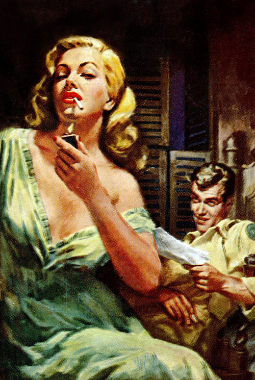 """Shriek with Pleasure"" by Toni Howard. Cover Art by Mitchell Hooks (1950) (x)"