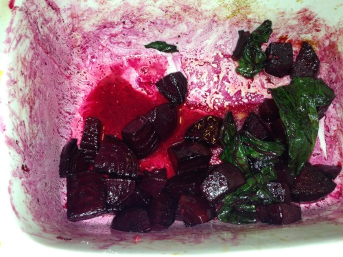 The picture is really ugly, but it tastes delicious! Roasted beets with sautéed greens. Finished with a squeeze of lemon juice. YUM-O!  Thanks to Brenna for the cooking tips! I will definitely be making this again.