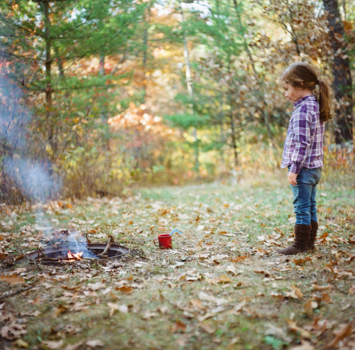 +From the Fall, Tending the Fire  Via Mamiya C330 w/ portra 400