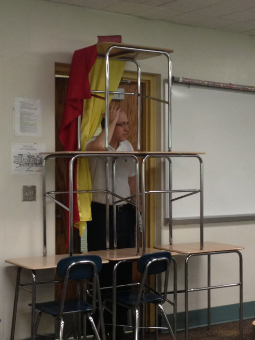 "fandomize-the-nation:  thegrlnxtdoorandhergingerfriend:  My AP euro teacher wouldn't let our class watch Les Mis so we barricaded the door and screamed ""VIVE LA REVOLUCIÓN"" when he tried to get in.  he looks really distressed"