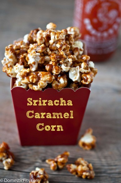 thesrirachacookbook:  Sriracha Caramel Corn recipe Jackie Dodd over at Domestic Fits is awesome. Besides making some stellar recipes for that blog, she also runs another blog called The Beeroness that holds a veritable treasure of delicious recipes that incorporate craft beer. She's wowed us before with her Sriracha-Stout BBQ Sauce recipe and her Strawberry-Sriracha Margarita recipe, but now she's come back even stronger with her rooster sauce-infused sweet & spicy caramel corn. You know the old movie theater trick… a guy drilling a hole in the bottom of the popcorn box to get himself a good time? (Did anyone ever actually do this?) Well, I'm sure there's some kind of cock sauce joke I can make here, but I'm writing this way too early in the morning to be that clever. Enjoy your popcorn! Recipe: Sriracha Caramel Corn from Domestic Fits Photograph by Jackie Dodd