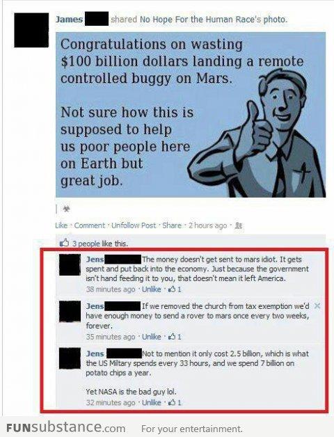 campusbeefcake:  funsubstancecom:  Yet NASA is the bad guy  logic to da FACE  Truth