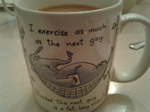 """I exercise as much as the next guy, provided the next guy is a fat lazy slob!"" Weight may come and go but this mug has followed me places for as long as I can remember."
