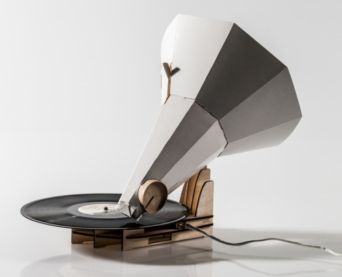 Jón Helgi Hólmgeirsson's wood and paper Gramophone, Jónófón, is about as analogue as you can get in design and music.  Graduating from Iceland Academy, Jón Helgi Hólmgeirsson is a product designer with an eye for design. His most celebrated idea is Jónófón – a flat-pack DIY Gramophone for records. No technology, it's a very well executed piece consisting of a small motor, plywood stands and a paper trumpet, he aims to put these kits into construction which would allow my generation to experience an older technology re-invented for the modern age. It's simple construction ensures that just glancing at it you know how to put it together and how the idea of music and vibrations work – science through creation I guess. Check it out here and keep up to date with the project.