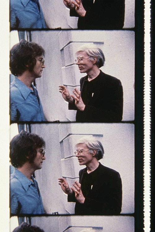 John Lennon & Andy Warhol at a party, photographed by Deborah Colton, 1971.