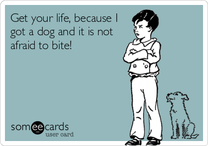 Get your life, because I got a dog and it is not afraid to bite!Via someecards
