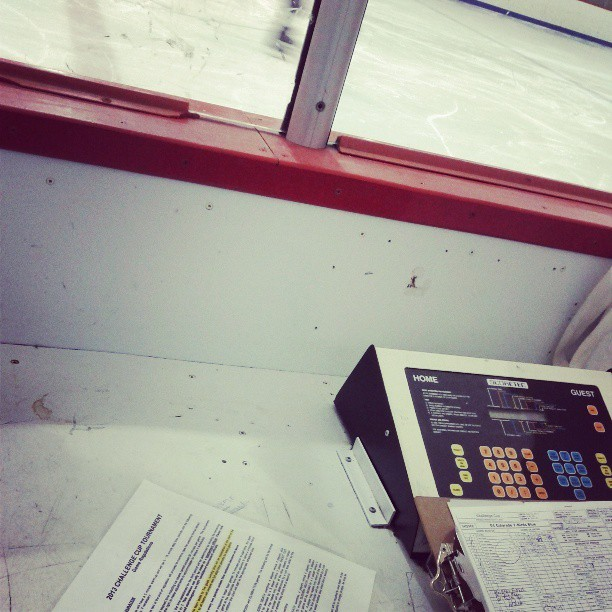 At the rink, yet again. #hockey #scorekeeping #hockeylife