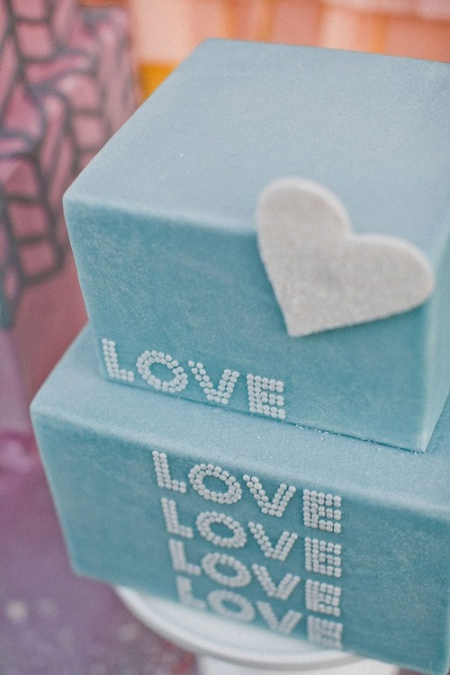 "square blue ""love"" wedding cake"