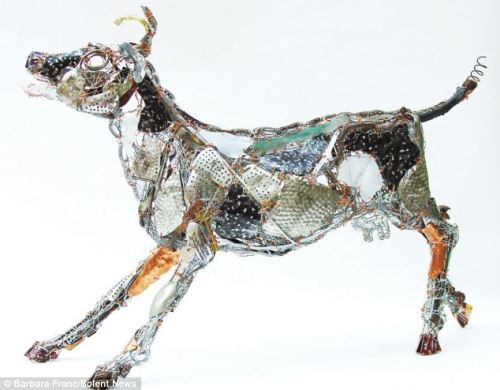 This art really IS rubbish! Sculpture creates animals out of items discarded in skips  Barbara Franc, 58, makes sculptures from junk to sell for up to £2,000 She finds materials in the street and in skips when walking her dog