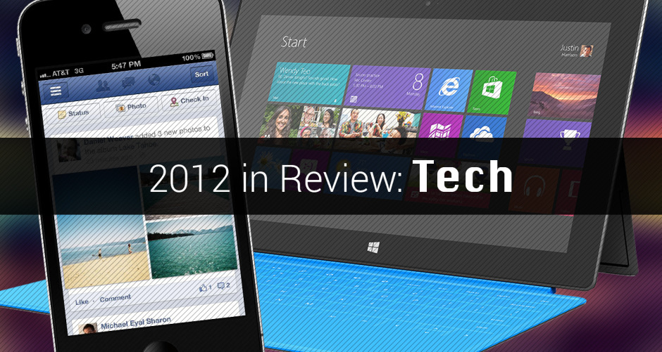 "currenteditorials:  • Current Editorials • Reviews Tech in 2012  2012 has been a monumental year in technology. This year we've watched Facebook truly realize the complete ""American Dream,"" as it went through with an IPO that valued the social network at $90 billion in May,  lost 47 percent of its value in 94 days, and subsequently began a slow ascent back to respectability. The Internet rallied its voice and defeated major legislation across the globe, including SOPA and PIPA that attempted to regulate the Internet. Major gadgets were released, including the Nexus 7, iPad mini, Microsoft Surface and iPhone 5. Copyright and patent laws around the world were put to the test as Apple and Android OEMs embarked on a game of 'who can file lawsuits against each other in the most countries,' with Samsung arising as the first victim of the lawsuits to the tune of $1 billion, which of course is being appealed. READ MORE at 2012 in Review: Tech 