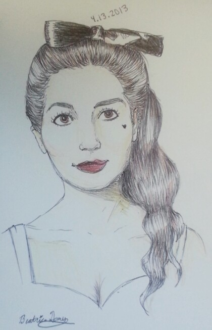 This is my sketch of Marina Diamandis of Marina and the Diamonds, made with ballpoint pen and colored pencil.
