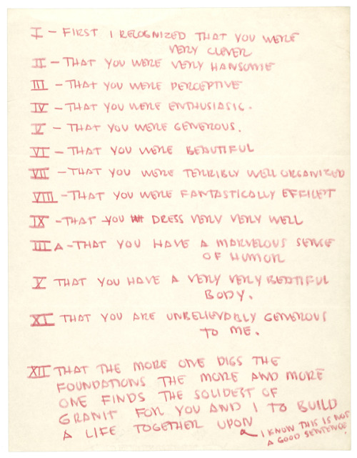 Artist Eero Saarinen's list of his wife's good qualities, ca. 1954, from the Lists, to-dos and illustrated inventories of great artists.