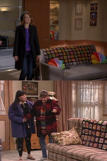 barthel:  The quilt on Kenneth's couch in the 30 Rock finale is the same one that hung from the back of the Conners' couch on Roseanne.  I thought it looked familiar!
